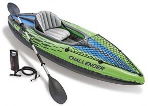Intex 68305EP, Kayak Inflable, 1 Persona, 100 kg, PVC, Negro, Verde