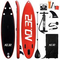 Tabla Hinchable de Paddle Surf + SUP Paddle Remo de Ajustable rojo